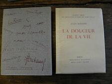 La douceur de la vie Jules Romains  Lithographie de Heuzé André Sauret éditeur