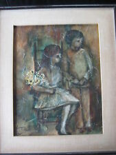 ORIGINAL OIL PAINTING ON CANVAS BOARD GIRL & BOY, SIGNED BY JACQUS TATUNIA (?)