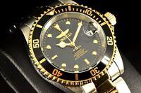 Invicta 8927OB Pro Diver Automatic 18k Gold IP 2Tone Black Dial Coin Edge Watch!
