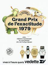 PUBLICITE ADVERTISING 017  1979  montres quartz Vedette prix exactitude