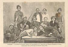 BIRMANIE BURMA UN GROUPE DE KARINS KARENS GRAVURE 1896