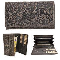 Damen Geldbörse lang Portemonnaie ölgeprägtes Vollrindleder Jockey Club floral