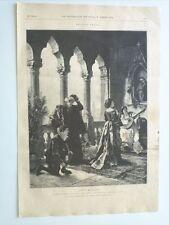 1885 Xilografía: Ave María Cuadro Original de C. Becker grabado de Brend'Amour