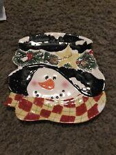 "SANTA's Workbench Ceramic  PLATE SNOWMAN 12"""