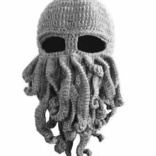 Winter Wind Ski Face Head Mask Tentacle Octopus Cthulhu Knit Beanie Gray Hat Cap