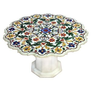 """48"""" Marble Table Top Semi Precious Stones Inlay With Marble Stand"""
