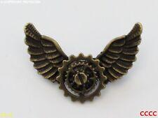 Steampunk broche insignia con Pin Bronce COGS Rueda Dentada mecánico Owl Alas