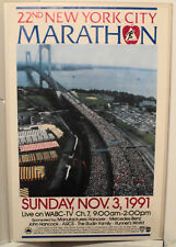 Vintage 22nd New York City Marathon Poster With Psych Team Tags
