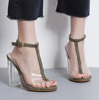 Transparent Womens Jelly Open Toe Ankle Buckle Sandals Slingback Shoes High Heel