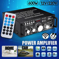 600W Mini 2CH HiFi Digital Audio Stereo Amplifier Preamps FM bluetooth Car