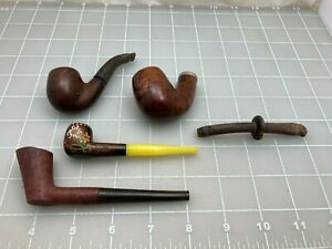 Judd's Lot of 3 Old Used Briar Pipes & 1-Bowl, 1-Old Stem