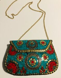Authentic Judith Leiber Style Antique Multicolor Crystal Minaudiere Evening Bag