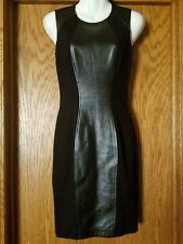 Cache Faux Leather Ponte Little Black Stretch Bodycon Dress Sz 2 EUC!!!!