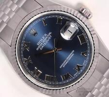 Rolex Datejust S/Steel 36mm Watch-Navy Roman Dial-18k Fluted Bezel-Quickset-Box