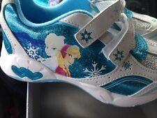 Disney Frozen Toddler Girl's Light Up  White/Blue Sneaker Size 12,11,10,9, NEW