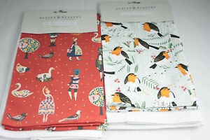 Ulster Weavers ~ CHRISTMAS ~ 12 days or Robins 100% cotton tea towel 2-pack