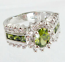 Gorgeous Woman Oval Cut 2.35ct Peridot 925 Silver Wedding Ring Size 6