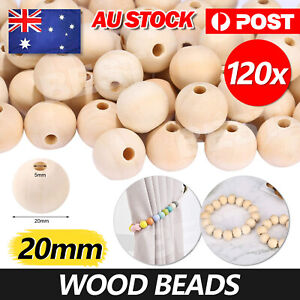 120 X 20mm Natural Wood Bead Unpainted Unfinished round Wooden Beads Spacer Ball