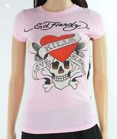 Ed Hardy Women Top Pink Size Small S Knit Love Kills Slowly Printed Tee $45 #006