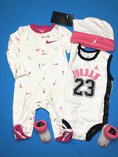 NIKE/JORDAN Baby Girls 4pc Gift Set: Jumpsuit, Bodysuit, Cap & Booties 0-6Months