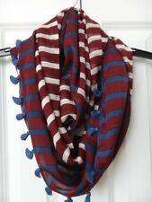 J.CREW Infinity Scarf with Tassel Trim - 100% Silk - Stripes