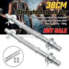 2x38cm Straight Barbell Dumbbells Bar Spinlock Collars Set Home Gym Fitness Bar