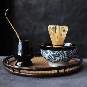 Ceramic Pottery Natural Bamboo Matcha Bowl Whisk Holder Japanese Style Tea Sets