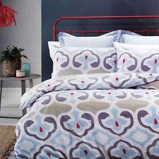 3 Pce Belmondo ZENITH White Sky Purple Red Quilt Doona Duvet Cover Set - QUEEN