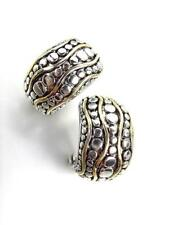 CLASSIC Designer Style Balinese Silver Dots Gold Oval Omega Latch Earrings