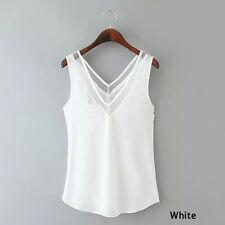 Women Female V-Neck Vest Loose Chiffon Sleeveless Tank T-Shirt Top Blouse Sexy