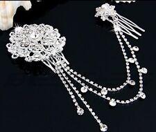 Bridesmaid Bridal Wedding Crystal Pearl Hair Combs HairPiece Tiara Slide Prom