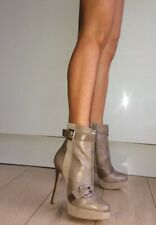 River Island Beige Ivory Grey Leather Suede Platform High Heel Ankle Boots 5 38