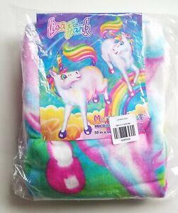 Lisa Frank Micro Raschel Throw RAINBOW Unicorn Markie & Celeste Blanket 50x60