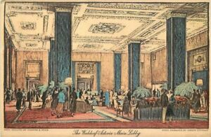 Main Lobby Interior Waldorf Astoria New York 1920s Postcard 20-9011