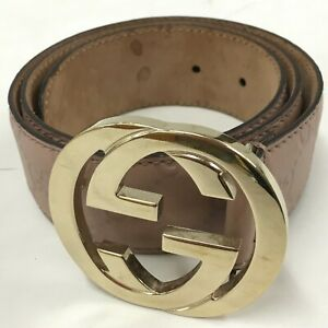 Auth Gucci Guccissima belt leather pink 114876 From Japan 0826*2711