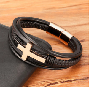Faith Luxury Cross Design Stainless Steel For Mens Leather Bracelet Christmas