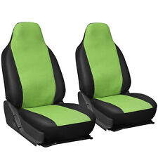 2pc Set Green Black PU Faux Leather High Back Front Bucket SUV Auto Seat Covers