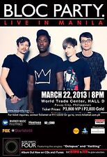 "BLOC PARTY ""LIVE IN MANILA""2013 CONCERT TOUR POSTER-Indie Rock,Post-punk Revival"