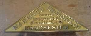 Genuine Nasmyth Wilson & co Manchester works Plate Railwayana, trains, Railway.
