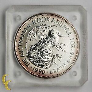 1990 Australia 5 Dollars Kookaburra Silver 1oz in Mint hard Plastic KM# 189