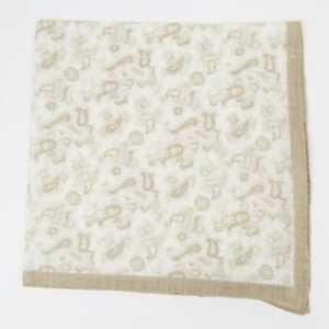 Aquascutum London New Beige White Ornate Paisley 100% Linen Pocket Square