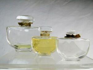 """Caron, série de 3 Flacons anciens :  """" Fleurs de rocaille """""""