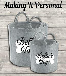 Personalised Dog Toy Bag Basket Dog Toy Felt Trug Dog Toy Storage Bag Grey