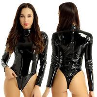 Damen Body Wetlook Lack Leder Reißverschluss im schritt Bodysuit Catsuit Dessous