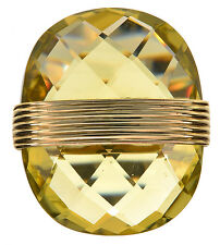22.00 Ct tw Faceted Limon Quartz 14K Yellow Gold Oval Ring Size 8