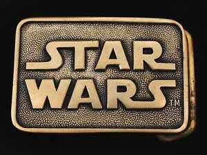 Star Wars Logo Script Solid Brass 1970s Vintage Belt Buckle