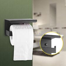 Toilet Paper Roll Holder Black Shelf Cover Hook Hanger Stainless Steel 304 Wall