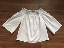 TU UK10 38 White Cotton Off Shoulder Top Blouse Wide Sleeve 100% Cotton Summer