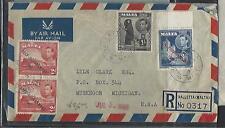 MALTA COVER (PP1211B)1949 KGVI SG 2DX2+3D+1/- REG A/M COVER TO USA TO LYLE CLARK