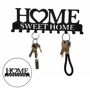 Iron Wall Mounted Key Shaped Key Holder Rack Organizer 10 Hooks Decor Black